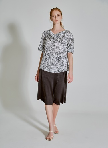 People By Fabrika Degaje Yaka Desenli Bluz Siyah